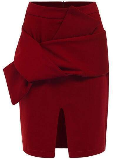 Red Bow Split Bodycon Skirt