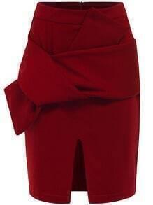 Red Bow Split Bodycon Skirt