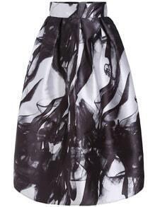 Black White High Waist Smoke Print Skirt