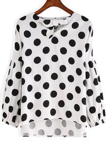 Black White Knotted Collar Polkadots Polka Dot Blouse