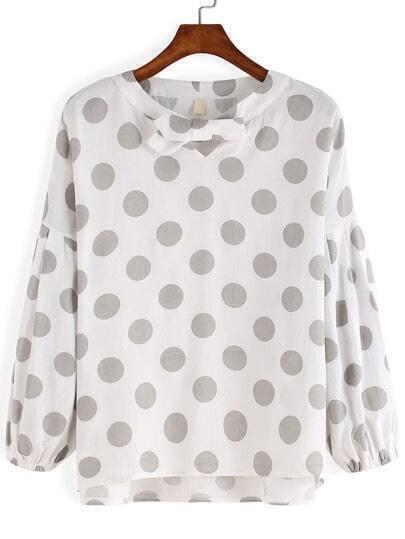 Grey White Knotted Collar Polkadots Polka Dot Blouse