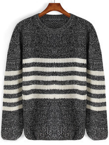 Black Round Neck Striped Knit Sweater