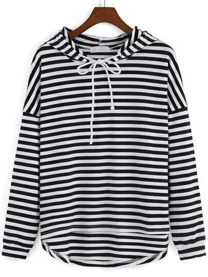Black White Hooded Striped Dip Hem Sweatshirt