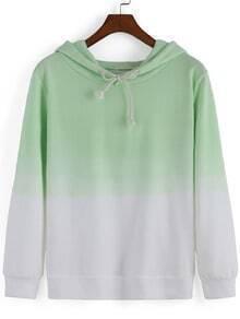 Green Ombre Hooded Loose Casual Sweatshirt