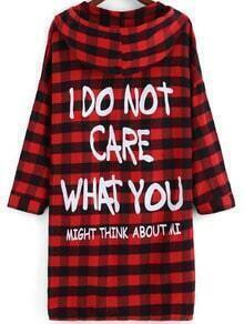 Red Black Hooded Plaid Letters Print Coat