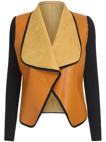 Yellow Black Contrast Trims Crop Coat