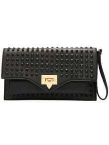 Black Rivet Metal Studs Buckle Shoulder Bag