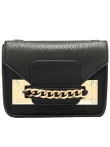 Black Chain Embellished PU Shoulder Bag