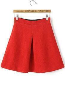 Red A Line Woolen Skirt
