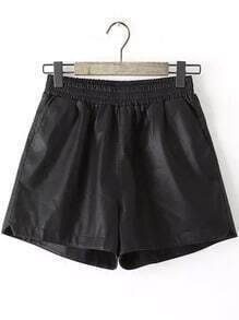 Black Elastic Waist Casual Shorts