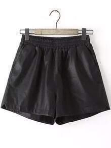 Black Elastic Waist Casual Shorts
