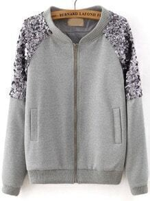 Grey Long Sleeve Sequined Zipper Jacket