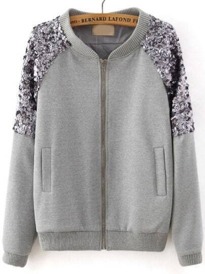 Grey Long Sleeve Sequined Zipper Jacket