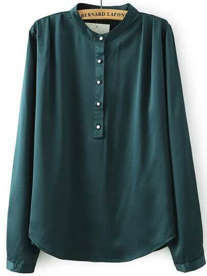 Green Stand Collar Buttons Loose Blouse