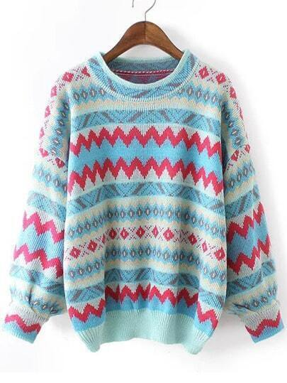 Multicolor Round Neck Zigzag Print Sweater