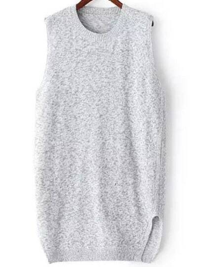Grey Round Neck Sleeveless Split Sweater