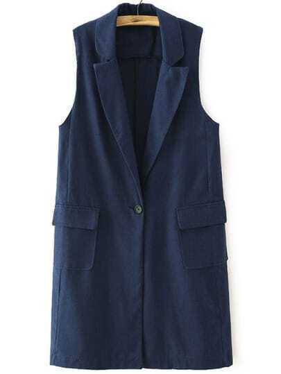 Navy Notch Lapel Single Button Vest