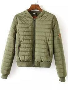 Army Green Quilted Quilting Striped Crop Coat