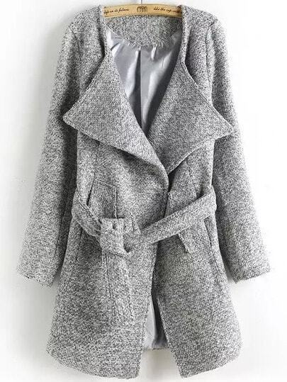 Light Grey Lapel Tie-waist Woolen Coat