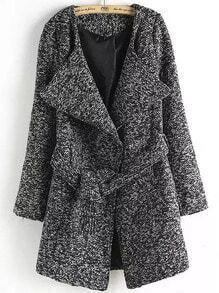 Dark Grey Lapel Tie-waist Woolen Coat