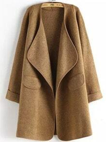 Khaki Long Sleeve Peplum Trims Casual Coat