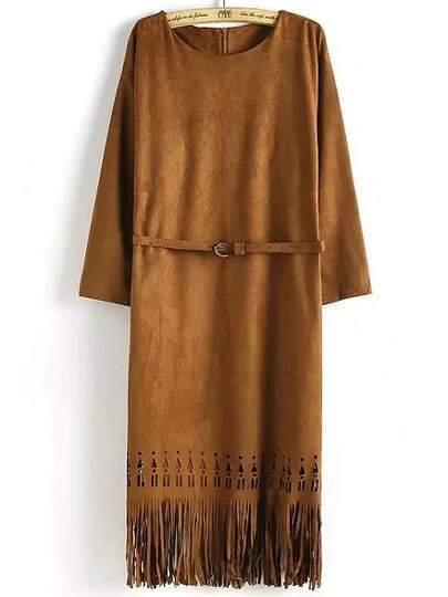 Khaki Fringe Bronze Round Neck Hollow Tassel Fringed Dress
