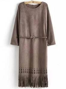 Coffee Round Neck Hollow Tassel Fringed Dress