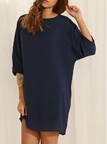 Navy Batwing Sleeve Round Neck Design Dolman Casual Dress