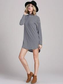 White Black House Banded Long Sleeve Striped Dress
