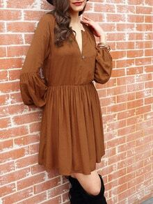 Brown Long Sleeve Pleated Dress