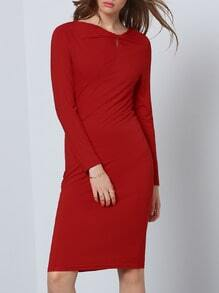 Red Ruby Long Sleeve Slim Designer Elegantly Wiggle Dress