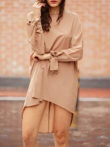 Mocha Camel Sophisticated Baggy Long Sleeve Bat Sleeve Designer Loose Dress