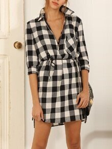 Black White Waistband Lapel Plaid Grid Blouses Dress