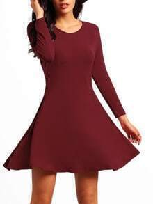 Red Long Sleeve Casual Drop Waist Dress