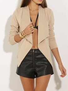 Khaki Long Sleeve Lapel Blazer