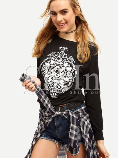 Black Long Sleeve Pattern Print Sweatshirt