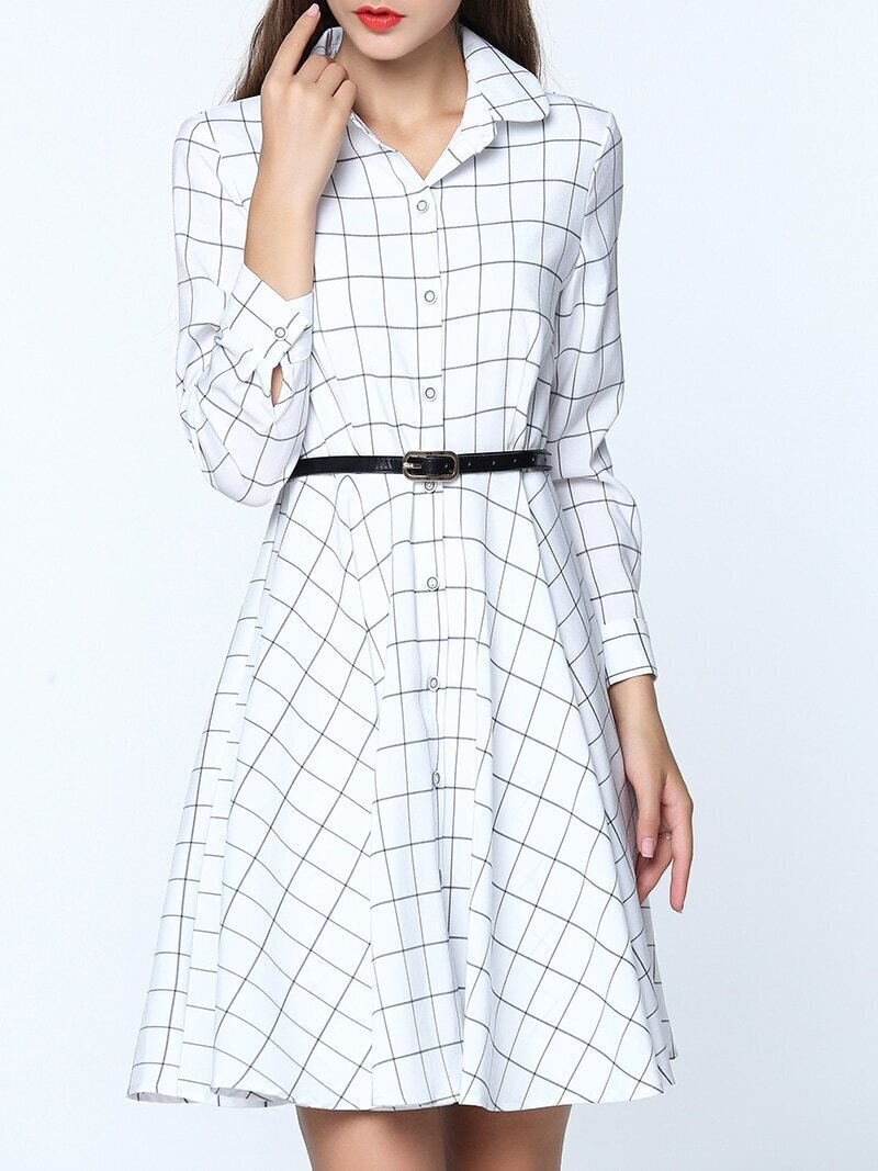 White Lapel Long Sleeve Check Print Drawstring Dress