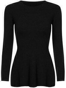 Black Round Neck Ruffle Knit Sweater