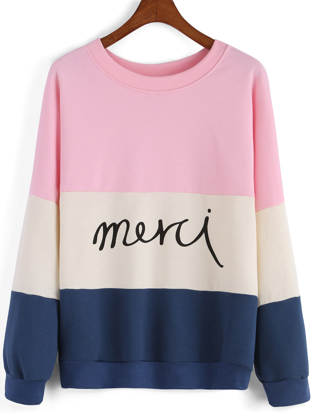 Colour block round neck letters print sweatshirt shein for Letters for sweatshirts