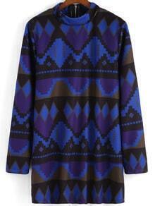 Multicolor Stand Collar Geometric Print Dress