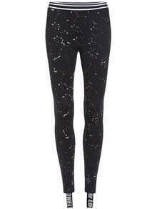 Black Slim Spot Letters Print Leggings