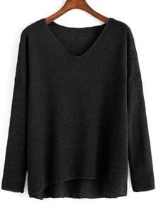 Black V Neck Long Sleeve Loose T-Shirt