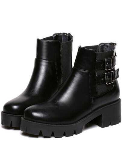 Black Chunky Heel Buckle Strap Round Toe Boots