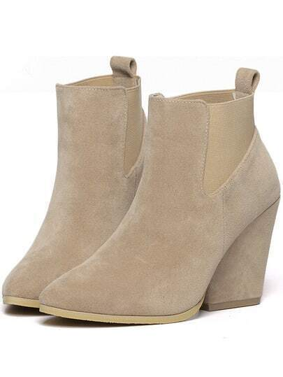 Apricot Chunky Heel Almond Toe Boots