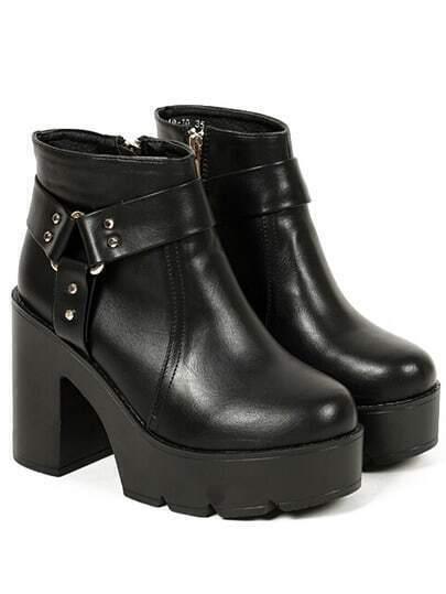 Black Chunky Heel Zipper Round Toe Boots