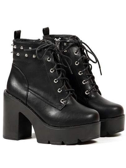 Black Chunky High Heel Hidden Platform Studs Rivet Boots