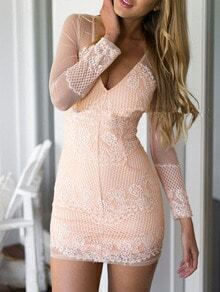 Pink Chikan V Neck Blush Sheer Mesh Lace Bodycon Dress