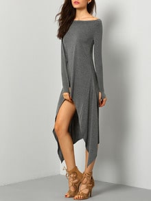 Grey Marl Boatneck Amazing Pop Popular Glamor One-Shoulder Asymmetrical Unusual Casual Dress