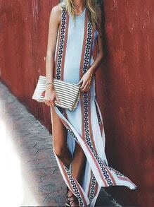 Multicolor Sleeveless Tribal Print Tradition Split Dress