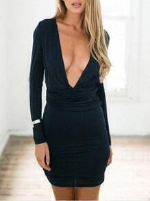 Navy Raw Deep V Neck Casual Wrapover Bodycon Dress